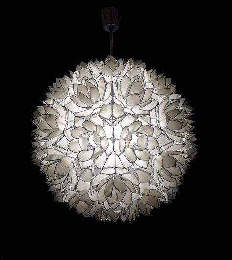 Large Capiz Shell Chandelier Large Capiz Shell Pendant Light Lotus 1960s For Sale At 1stdibs