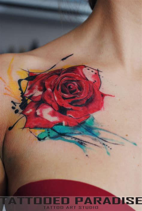 rose tattoo colors watercolor tattoos on gemini