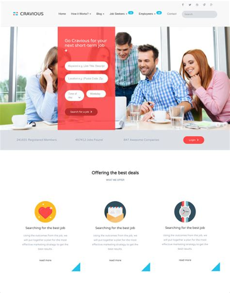 free templates for recruitment website 19 job portal html5 themes templates free premium