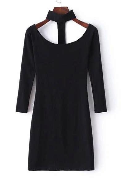 plain halter bodycon sleeve mini dress