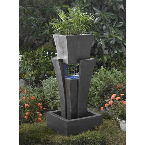 Outdoor Water Fountains With Lights Jeco Raining Water Outdoor With Planter With Led Light Fountains At Hayneedle