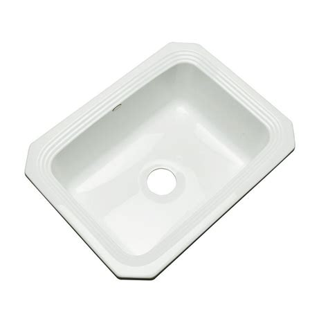 white undermount single bowl kitchen sink thermocast rochester undermount acrylic 25 in single bowl