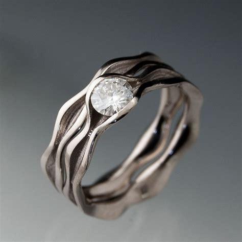 moissanite wave wedding ring bridal set colorless forever