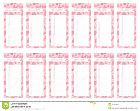 Du Calendar Livre Girly De Calendrier Illustration Stock Image 55785205