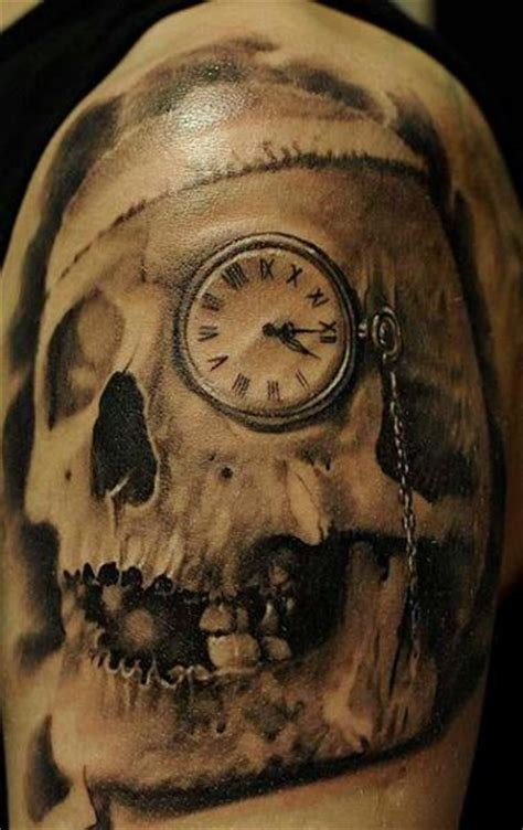 skull and clock tattoo shoulder realistic clock skull by radical ink