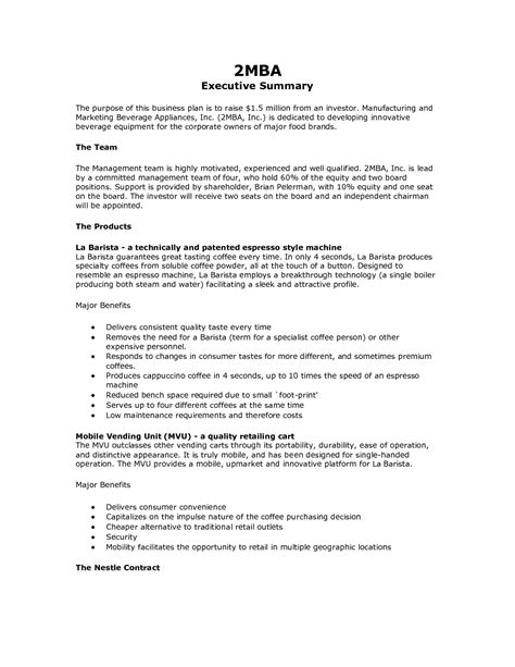 business executive summary template how to write an executive summary exle for your