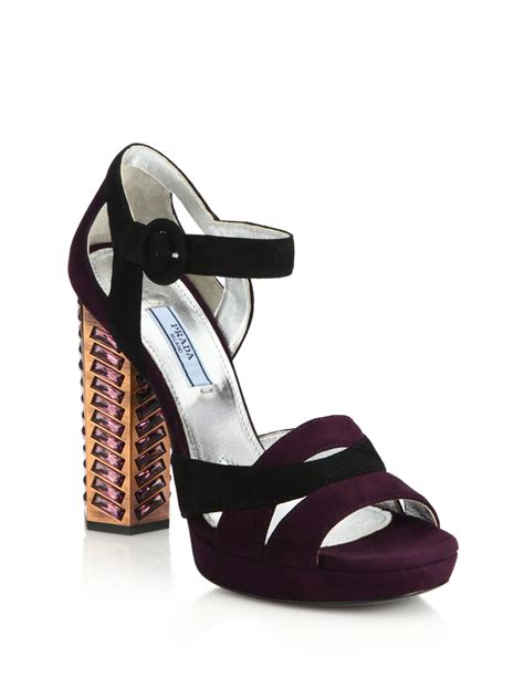 jeweled boots lyst prada jeweled suede sandals in purple