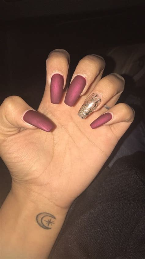 matte colored nails matte burgundy gel acrylic nails with glittery gold accent