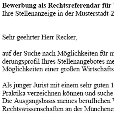 Bewerbung Schreiben Muster Jurist Bewerbung Referendar In Als Jurist Juristin Azubi Vorlagen De