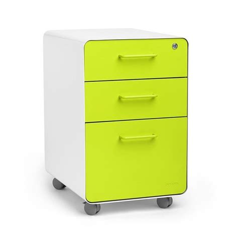 Poppin White Lime Green Stow 3 Drawer Rolling File Lime Green Desk Accessories