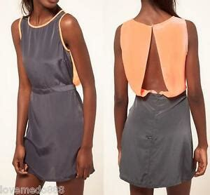 Dress Gray S M L Xl 16422 womens casual career open back satin contrast color dress
