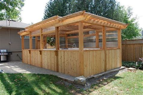 Backyard Enclosed Gazebo Enclosed Cedar Pergola Outdoor Swim Spa Gazebo Ideas