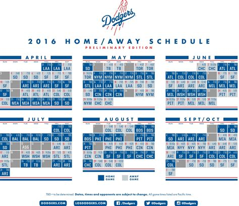dodgers release preliminary 2016 schedule think blue la