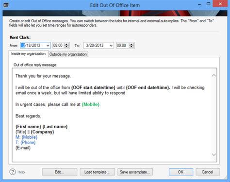 out of office message outlook 2010 template set up out of office reply for another user on your