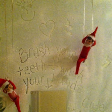 elf on the shelf spray snow on bathroom mirror elf