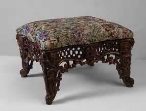 medium upholstered cast iron tapestry footstool with gold