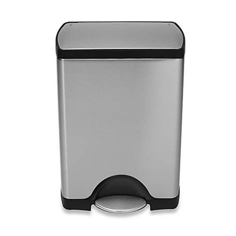 bed bath and beyond garbage cans simplehuman 174 deluxe stainless steel fingerprint proof
