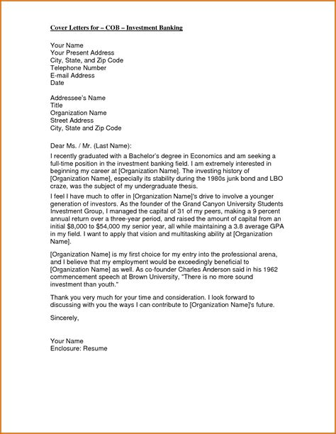 Investor Letter Template 6 Investment Banking Sle Cover Letter Lease Template
