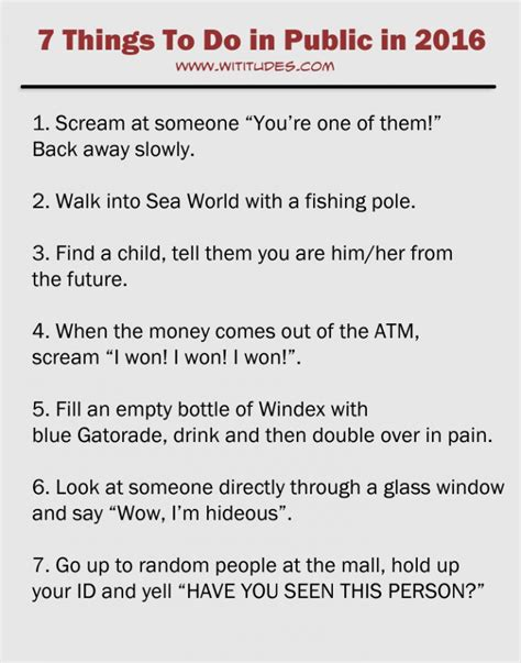 7 things to do in public in 2016 list funny wititudes