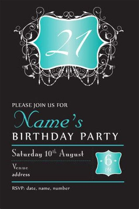 21st birthday templates 21th birthday invitations evening chic birthday