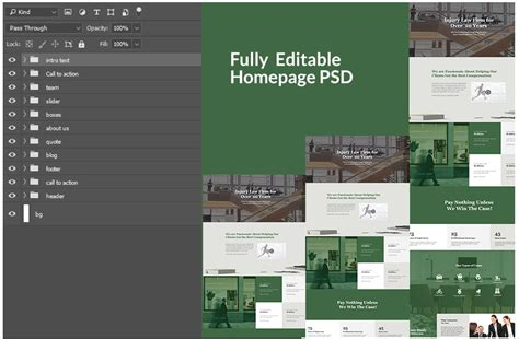 layout videoview divi layout psd for injury law firm