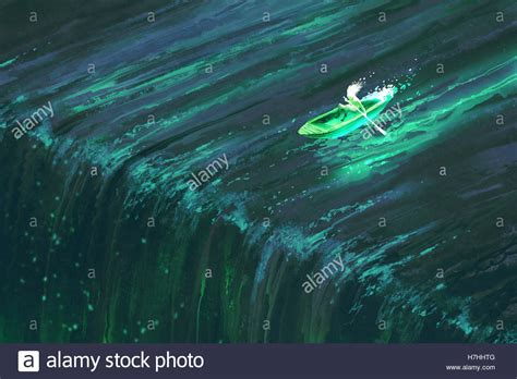 glow in the paint kuching rowing in glowing green boat near edge of waterfall