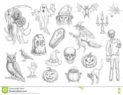 doodle drawings and their meanings creepy and horror sketch symbols stock