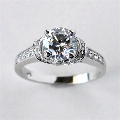 solitaire engagement ring with cz cubic zirconia wedding