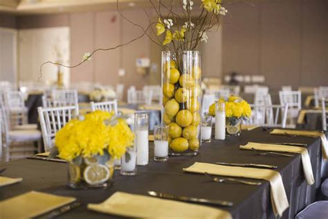 home decor centerpieces decorating ideas captivating yellow and black wedding table decoration using really tall round