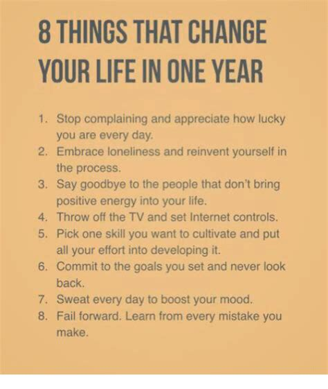 8 Things That Make You Look by 8 Things That Change Your In One Year 1 Stop