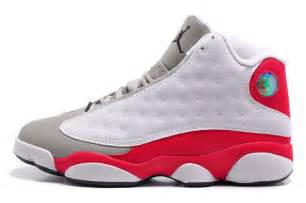 Men jordan 13 retro cement grey toe white true red