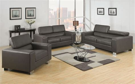 Modern Gray Leather Sofa Velia Modern Grey Leather Sofa