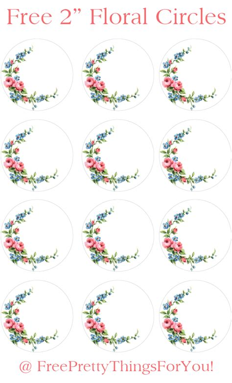 name tag flower design labels free 2 inch floral shabby circles free pretty