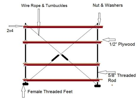 threaded rod tension wire shelf