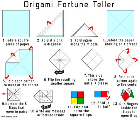 Folded Paper Fortune Teller - how to make a fortune teller for cool2bkids paper
