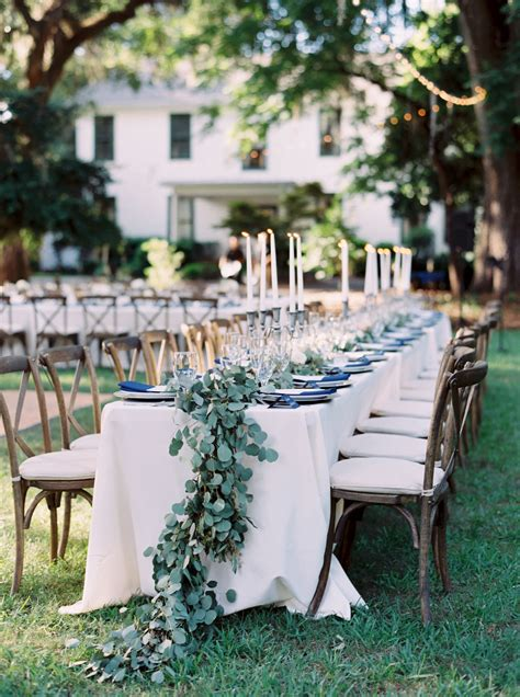 outdoor head table  natural eucalyptus tablescape