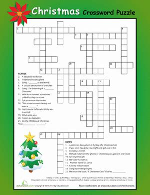 best christmas puzzles and answers crossword worksheet education