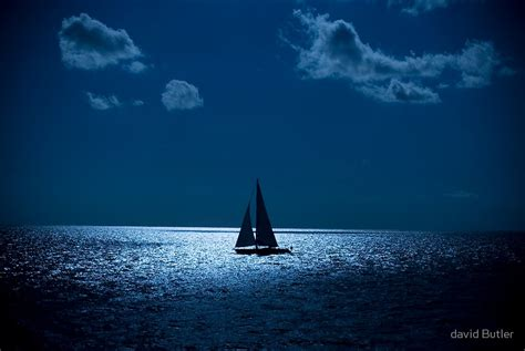 row boat lights at night quot sailboat at night quot by david butler redbubble