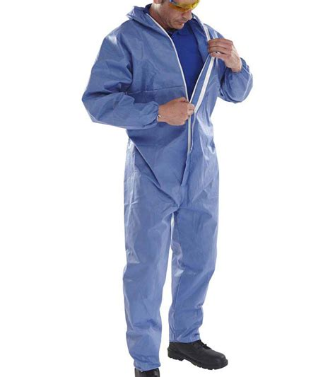 blue disposable coveralls ce type 5 and 6 economy 20 pack