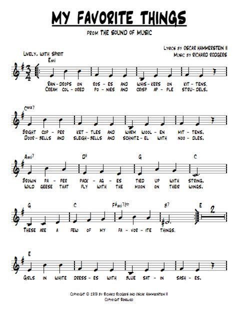 printable lyrics sound of music my favorite things from the sound of music chords by