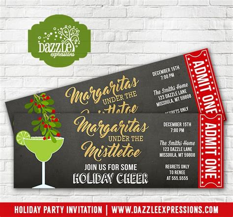 printable tickets for christmas party printable margaritas under the mistletoe holiday party