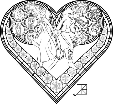 Stained Glass Coloring Page Frosted Love By Akili Stained Glass Disney Princess Free Coloring Sheets