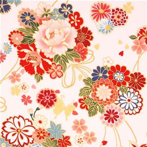 imagenes de flores japonesas en tela tela oriental asia blanca flor ramo mariposa dorados kokka