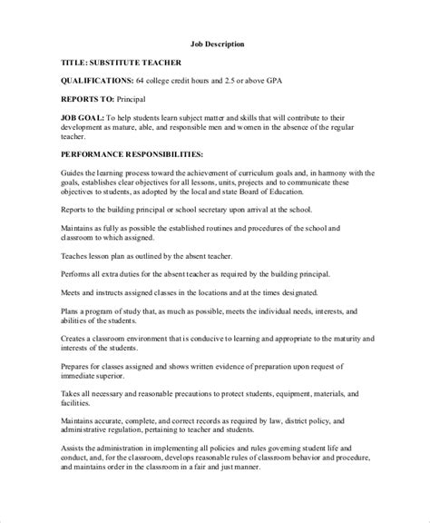 Resume Description Substitute Sle Description 12 Exles In Word Pdf