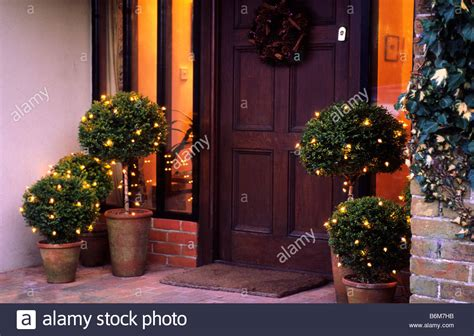 outdoor christmas topiary ideas outdoor garden decorations lights on boxwood topiary in stock photo 21343319 alamy