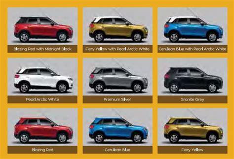 maruti suzuki car colours maruti suzuki vitara brezza price in india specs