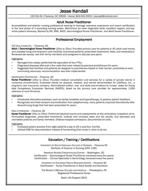 nurse practitioner resume template curriculum vitae sles for practitioner