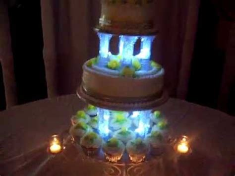 Wedding Cake With Room Dimmed Showing Cake Lit Candles Light Cakes