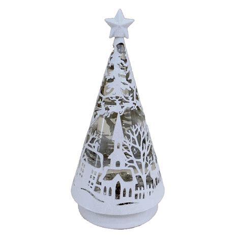 shop holiday living pre lit tree snow globe with constant