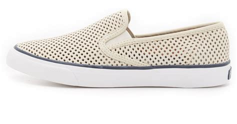 perforated slip on sneaker sperry top sider seaside perforated slip on sneakers in